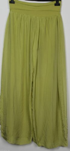 Italian Palazzo Silk Trousers - Lime Green